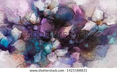 Abstract colorful oil, acrylic painting of spring flower. Hand painted brush stroke on canvas. Illustration oil painting floral for background. Modern art paintings flowers with purple red color.