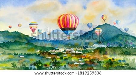 Watercolor landscape painting colorful of hot air balloon on village, mountain in the Panorama view and rural society, nature spring in sky background. Hand painted abstract illustration in Asia.