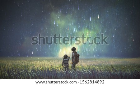 brother and sister in a meadow looking at meteors in the sky, digital art style, illustration painting
