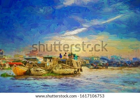 Lifestyle of local vietnamese living in a boat at Can Tho in beautiful morning sunrise, most famous and biggest floating market in Mekong Delta, Vietnam- oil painting.
