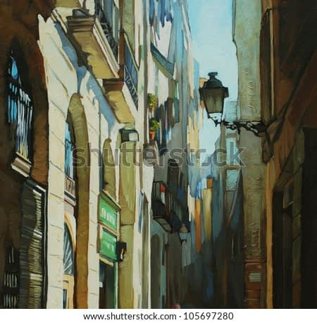 gothic quarter in barcelona, painting by oil on a canvas, illustration