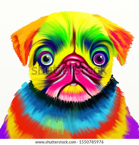A colourful digitally created painting of a pug dog using bright colours.