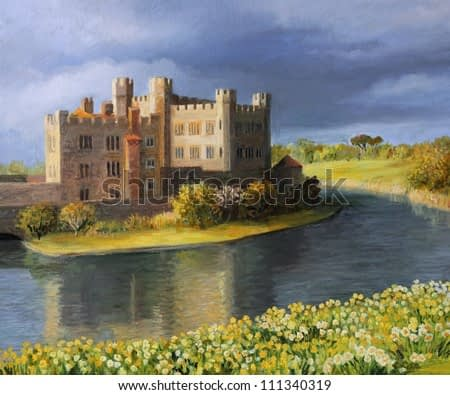 An oil painting on canvas of the famous Leeds Castle in Kent surrounded by a peaceful lake with spring flowers blooming in yellow and white at the meadow.