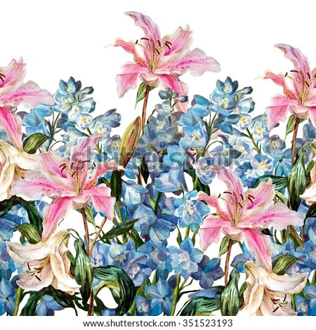 Floral horizontal border. Lilies and delphiniums, isolated on a white background. Watercolor painting.