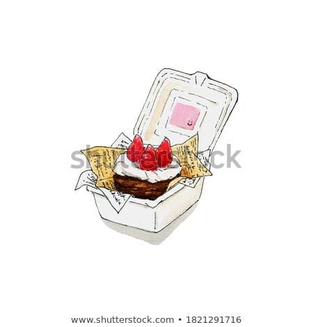 Chocolate cake with fresh cream and strawberry on top place in small box. Watercolor drawing of food and desert.