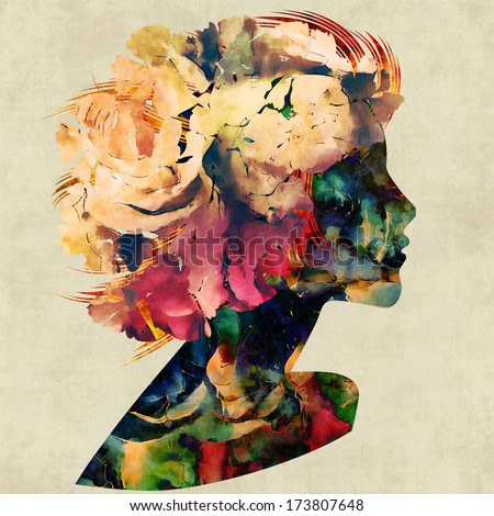 art colorful floral silhouette profile of beautiful girl with floral curly hair on sepia background