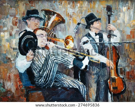 oil painting, the orchestra plays