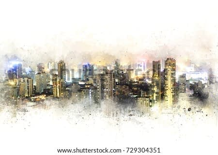 Abstract Building in capital at night on watercolor painting background. City on Digital illustration brush to art.