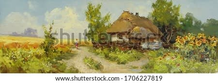 rural house on the outskirts of the village near a wheat field,oil painting, fine art, road, summer, rural landscape, village, architecture, nature