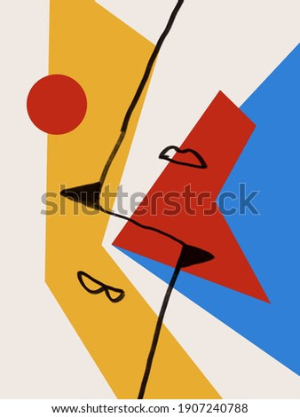 Two minimal Woman s figure and Abstract art and collage with primary color. Trendy simple and minimalist modern art. For print and poster. Matisse and Bauhaus vibe.