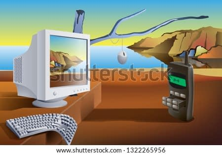 Communication technology. Surreal landscape with computer and mobile phone on the seashore. Illustration, vector. EPS-10.