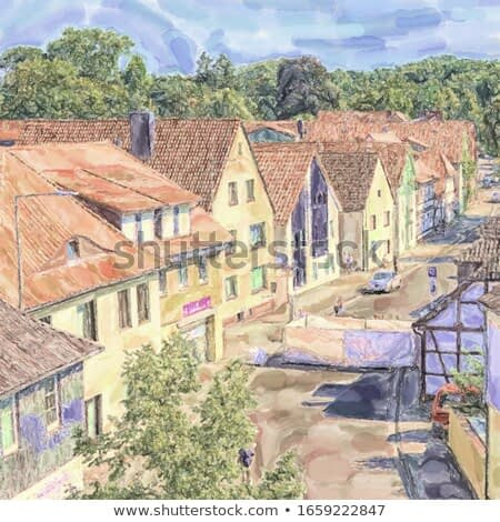 watercolor illustration: Barrier against terrorist attacks with vehicles in the old town of Gifhorn at the city festival 2018, photo from above.