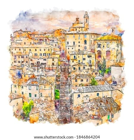Corinaldo Italy Watercolor sketch hand drawn illustration