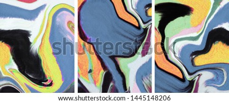 Collection of designer paintings. Decoration for the interior. Modern abstract art on canvas. A set of pictures with different textures. Blue, yellow,pink.