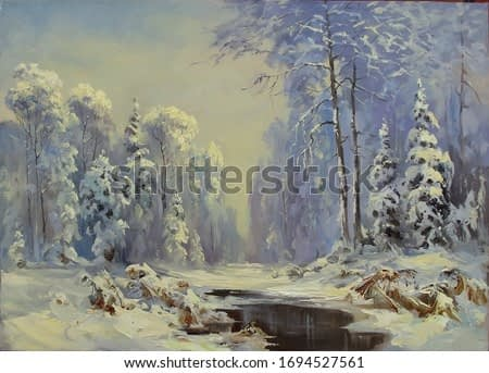 winter forest after snowfall with a small river and reeds,oil painting, fine art, landscape, trees, winter, snow, water, nature