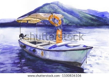 yacht on the sea. Coast. water. Lifebuoy. watercolor