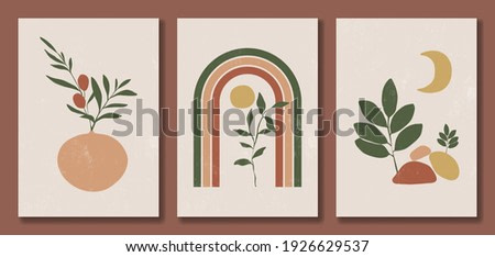 Set of abstract trendy modern posters. Floral elements, with rainbow, sun and moon, balance shapes. Pastel colors, earth tones. Minimal style. Design for wall decor, print, card, banner. Vector illustration