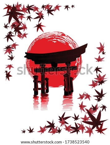 Torii Gate against a background of red sun and maple leaves. Vector illustration in traditional oriental style.
