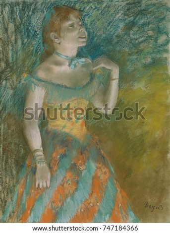 The Singer in Green, by Edgar Degas, 1884, French impressionist drawing, pastel on paper. Degas captures the specific gesture of the womans upper torso and head as she sings