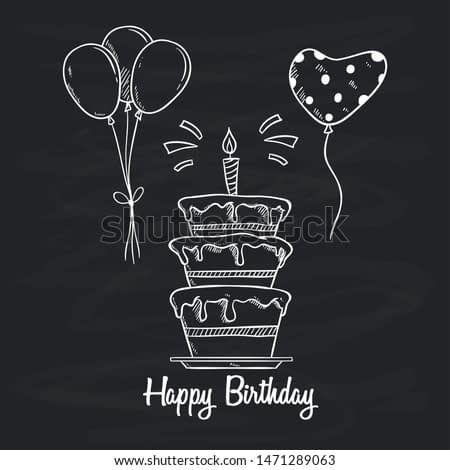Birthday Cake With Balloon and Candle by Using Sketchy Style on Chalkboard Background