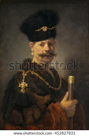 A Polish Nobleman, by Rembrandt van Rijn, 1637, Dutch painting, oil on panel. This is a costume portrait, and may even be a Rembrandt self-portrait. The emotional facial expression with furrowed brow