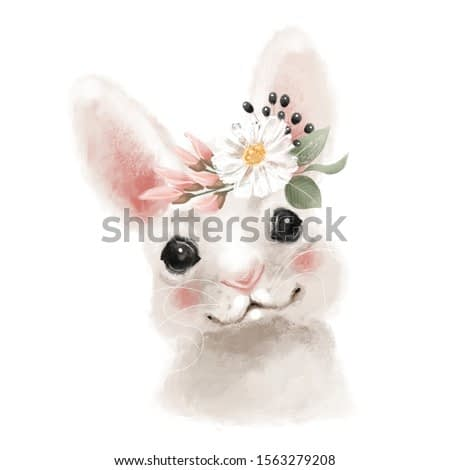Cute hand drawn bear in floral wreath, flowers bouquet, woodland watercolor animal portrait
