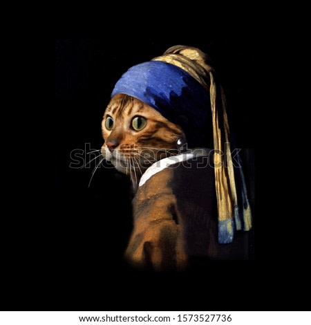 Vermeer spoof Girl with a pearl earring Puss with a pearl earring