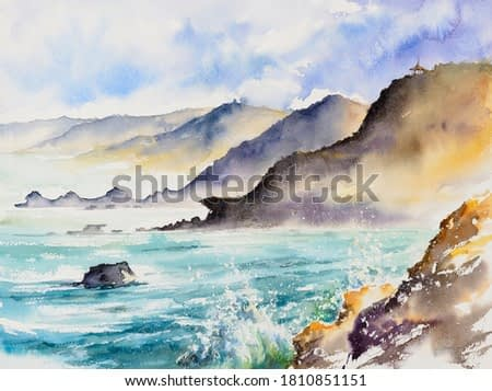 Huge ocean waves breaking on the coastal cliffs, cloudy stormy day. Storm season, seascape. Waves breaking on the rocks, coastline. Picture created with watercolors.