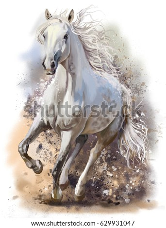 White horse runs watercolor painting