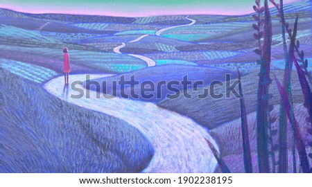 Conceptual art, surreal artwork ,hope life dream way and ambition concept. Woman looking at fantasy nature , 3d illustration. imagination of happiness landscape painting