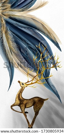3d illustration of deer and feather. Luxurious abstract art digital painting for wallpaper