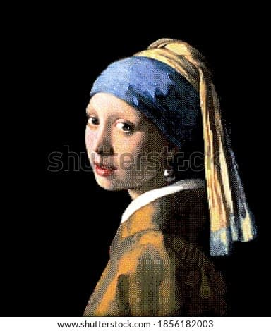 Girl with a Pearl Earring. Redrawing with pixel art style.