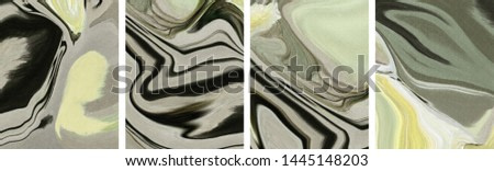 Collection of designer oil paintings. Decoration for the interior. Modern abstract art on canvas. Set of pictures with different textures and colors.
