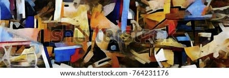 Panorama of abstraction. Designed in a modern style oil painting on canvas. Primitive cubism style of Picasso and Kandinsky.