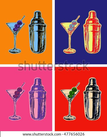 Set of Colored Martini Cocktails with Olives and Shaker Vector Illustration