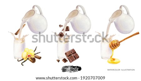 Pouring milk from a jug into a glass with vanilla cinnamon chocolate honey watercolor illustration isolated on white background