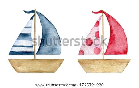 Watercolor cartoon summer paper boat toys set isolated on white background