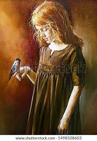 Little red-haired girl in a classic dress holding a small bird bullfinch on her hand. The background created in various shades of brown, red and orange. Oil painting on canvas.