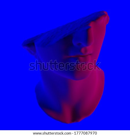 3D rendering of fragmentary colossal head of a youth sculpture in acid neon luminescent blue and pink lightning. Classical sculpture in vaporwave retrofuturistic aesthetics style.