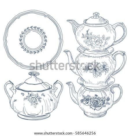 A set of porcelain tableware for tea in vintage style. Hand drawn sketch. Vector illustration isolated on white background.