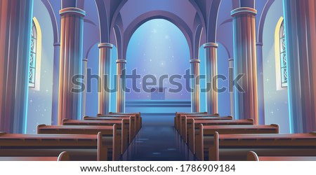 Cathedral Church view inside. Interior of Catholic Church. Cartoon vector illustration