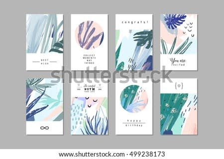 Set of creative universal floral cards in tropical style. Hand Drawn textures. Wedding, anniversary, birthday, Valentin's day, party invitations. Vector. Isolated.