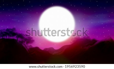 Landscape painting, Fullmoon night starry colorful sky over mountains