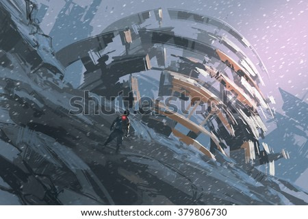 man standing on the hill watching the abstract architecture,illustration painting