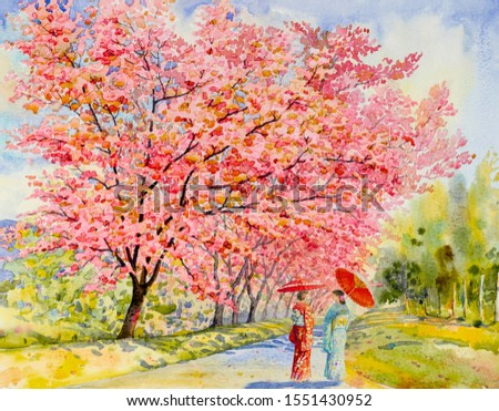 Travel in autumn colorful of Japan - Famous landmarks of the Asian. Woman wearing Japanese traditional kimono with umbrella. Watercolor painting illustration in sky background, popular tour attraction