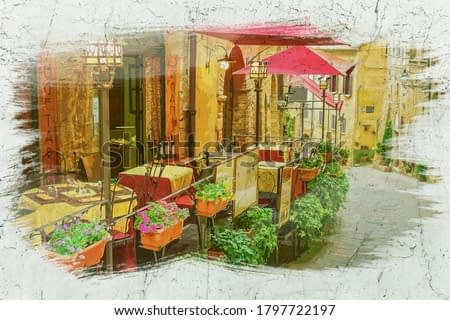Small cafe on vintage street in Italy, watercolor painting