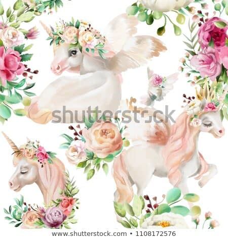Beautiful, watercolor unicorns princess, pegasus in gold crown and floral, flowers peony and rose bouquets and pigeon on white background seamless pattern