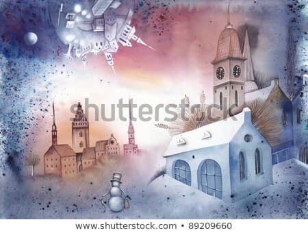 Watercolour illustration of a snow-covered village.