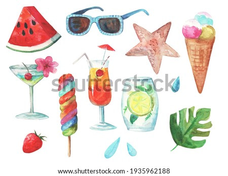 Big set of watercolor summer clip art. Hand painted illustration with ice cream, cocktails and sunglasses.