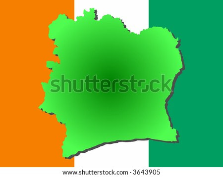 map of Ivory Coast and their flag illustration